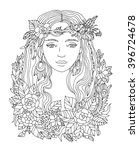 pretty elegant girl with wreath.... | Shutterstock .eps vector #396724678