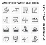 waterproof icon and water leak... | Shutterstock .eps vector #396727156