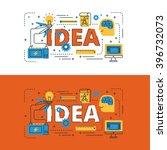 idea lettering flat line design ... | Shutterstock .eps vector #396732073