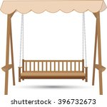 Wooden Bench Swing With A Roof...