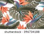strelitzia pattern. tropical... | Shutterstock .eps vector #396734188