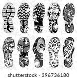 grunge shoe tracks  ... | Shutterstock .eps vector #396736180