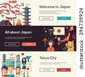 Vector flat design Japan travel design banners, headers set and infographics elements with landmarks and famous Japanese symbols