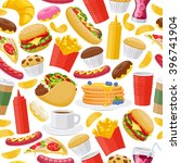 beautiful  fast food icons... | Shutterstock .eps vector #396741904