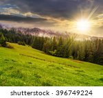 cold morning fog with hot sunrise in conifer forest in Carpathian mountains at sunset - stock photo