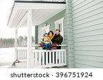 happy family against a country... | Shutterstock . vector #396751924