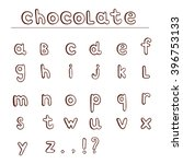 chocolate hand draw alphabet.... | Shutterstock .eps vector #396753133