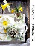 quail eggs and spring flower... | Shutterstock . vector #396764089