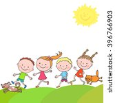 group of happy boys and girls... | Shutterstock . vector #396766903