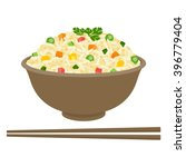 fried rice in bowl with... | Shutterstock .eps vector #396779404