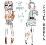 cute cartoon girls   Shutterstock .eps vector #396783793
