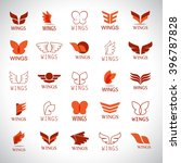 Wings Icons Set Isolated On...