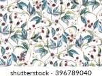 hand drawn watercolor seamless... | Shutterstock . vector #396789040