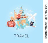 travel by plane russia  usa ... | Shutterstock .eps vector #396789154