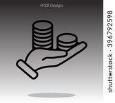 web line icon. money in hand | Shutterstock .eps vector #396792598