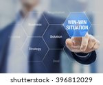 businessman presenting win win... | Shutterstock . vector #396812029