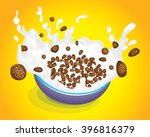 cereal bowl with splash... | Shutterstock .eps vector #396816379