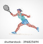abstract tennis player of... | Shutterstock . vector #396825694