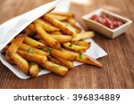 french fries in paper bag and... | Shutterstock . vector #396834889