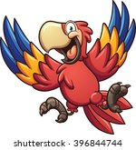 cartoon red macaw. vector clip... | Shutterstock .eps vector #396844744