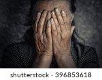 old sad poor woman. closeup... | Shutterstock . vector #396853618