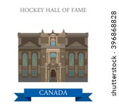 Stock vector hockey hall of fame in toronto canada flat cartoon style historic sight showplace attraction web 396868828