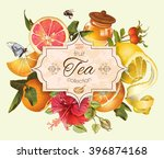 vector vintage citrus banner... | Shutterstock .eps vector #396874168