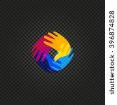 isolated vector hands logo.... | Shutterstock .eps vector #396874828