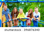 smiling excited kids having fun ... | Shutterstock . vector #396876340
