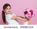 Cute Girl Giving Flowers
