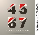 number font template. set of... | Shutterstock .eps vector #396882460