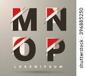 alphabet font template. set of... | Shutterstock .eps vector #396885250