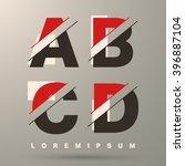 alphabet font template. set of... | Shutterstock .eps vector #396887104