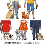 Stock vector five dogs and their owners vector illustration 396887473