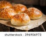 fresh homemade burger buns | Shutterstock . vector #396906973