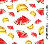 watercolor watermelon and banana | Shutterstock . vector #396916288