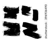set of 5 grunge black abstract... | Shutterstock .eps vector #396936490