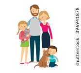 happy family of four and two... | Shutterstock .eps vector #396941878