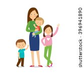 mother with three children.... | Shutterstock .eps vector #396941890