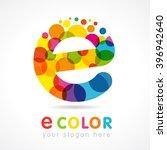 letter e colorful bubbles... | Shutterstock .eps vector #396942640