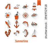 summer and beach simple flat... | Shutterstock .eps vector #396952918