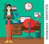 woman holding pile of books. | Shutterstock .eps vector #396957478