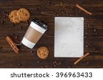 grunge letter with coffee on... | Shutterstock . vector #396963433
