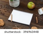 sketchbook on the table with... | Shutterstock . vector #396963448