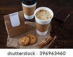 coffee breakfast on the wooden... | Shutterstock . vector #396963460