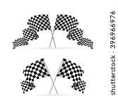 racing flag avto set. symbol of ... | Shutterstock . vector #396966976