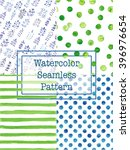 set of watercolor seamless... | Shutterstock .eps vector #396976654