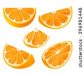 set slices of orange fruit