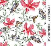 pattern with watercolor... | Shutterstock . vector #396982684