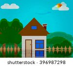 illustration of a house flooded ...   Shutterstock . vector #396987298
